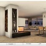Panoramakamin mit Regal und Holzlege aus Rohstahl
