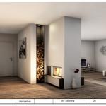 Tunnelkamin Holzlege und Feuertisch aus Rohstahl
