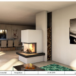 Panoramakamin mit Feuertisch und Stahlholzlege