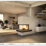 Panoramakamin mit Feuertisch aus Naturstein